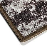Vintage Teppichläufer   im angesagten Shabby Chic Look   hochwertige Meterware, gekettelt   Kurzflor Teppich Läufer   Küchenläufer, Flurläufer (Braun,80×100 cm) - 4