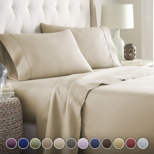 Hotel Luxury Bed Sheets Set-Sale Today ONLY! On Amazon Softest Bedding 1800 Series Platinum Collection-100%!Deep Pocket, Wrinkle & Fade Resistant(Twin, Taupe)