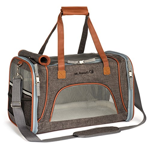 Mr. Peanut's Airline Approved Soft Sided Pet Carrier, Low Profile Travel Tote with Fleece Bedding, Premium Zippers & Metal Safety Clasp, Under Seat Compatibility, Perfect for Cats and Small Dogs