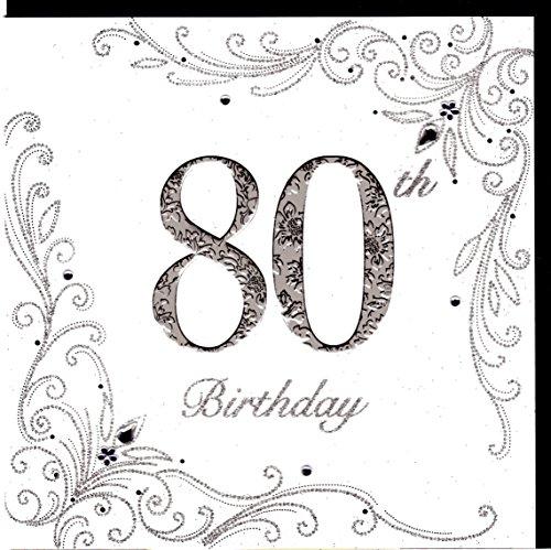 Edle Glückwunschkarte zum 80. Geburtstag von Koko Designs mit Prägung, Folie und Kristallen KK17