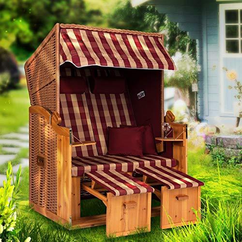 Strandkorb Ostsee XXL Volllieger 2 Sitzer - 120 cm breit - Burgund beige kariert inklusive Schutzhülle, ideal für Garten und Terrasse