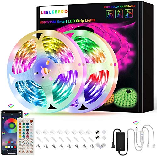 50ft Led Strip Lights, Leeleberd Music Sync Color Changing Led Light Strips, App Control and Remote, Led Lights for Bedroom Living Room Party Home Decoration 1