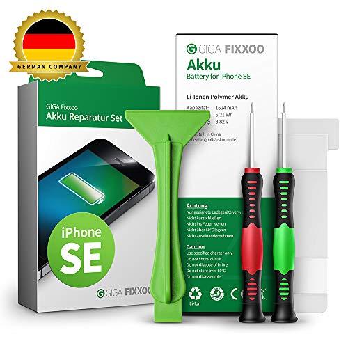 GIGA Fixxoo Akku Reparaturset kompatibel mit iPhone SE | Einfacher Austausch mit Anleitung und Werkzeug im Set bei Defekter Batterie, schnelles Wechseln