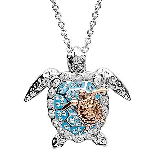 Schildkröte Halskette Silber Meeresschildkröte Halskette Kristall Schildkröte Halskette für Frauen Mädchen Meeresschildkröte Halskette Geschenk für ihren Valentinstag (Golden)