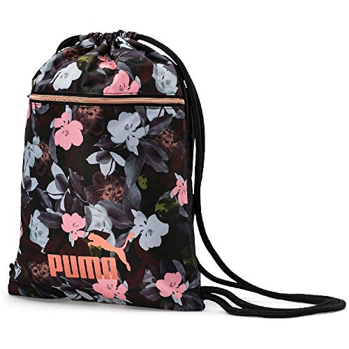 PUMA Damen WMN Core Seasonal Gym Sack Turnbeutel, Black-floral AOP, OSFA