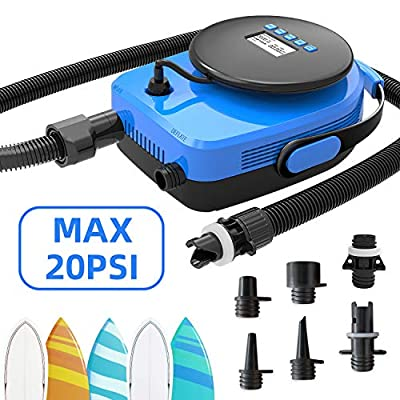 Tuomico Max 20PSI Blue Digtal SUP Electric Air Pump, Fashion Portable LCD Electric Pump with 7 Nozzles for Boats, Inflatables, Built in Voltage Meter, Dual Stage Inflation/Deflation & Auto-Off