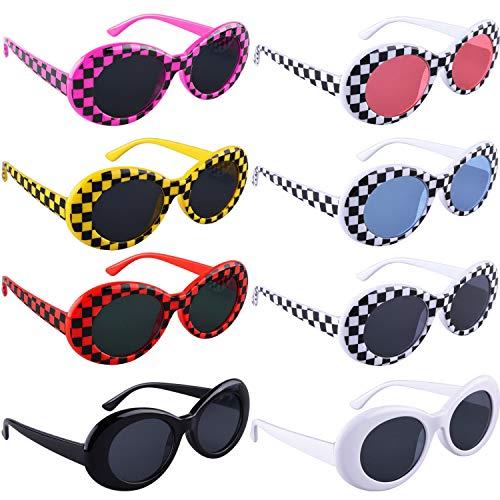 SIQUK 8 Pairs Clout Goggles Oval Sunglasses 8 Colors Retro Kurt Mod Goggles
