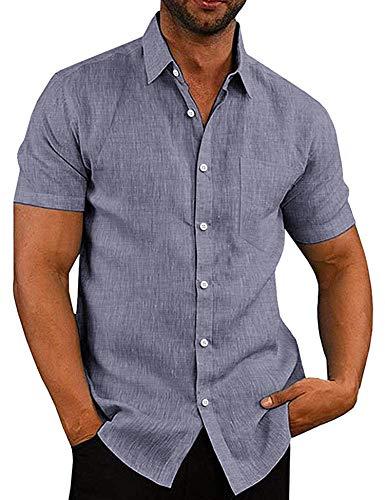 COOFANDY Herren Hemd Kurzarm Freizeit Regular Fit Leinenhemd aus Baumwollmischung