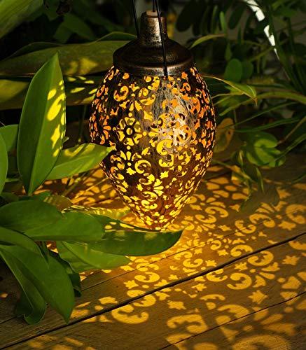 Raelf Luces solares para colgar al aire libre – Faroles solares de jardín para colgar al aire libre – Linternas solares de metal impermeables para patio, camino, patio, jardín