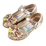 Girl's Adorable Sparkle Mary Jane Flower Girls Dress Wedding Party Princess Party Dress Shoes(Gold)