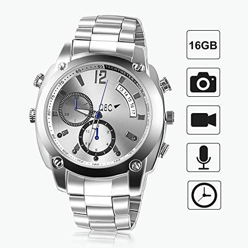 FLYLINKTECH HD 1080P Spy CAM - Reloj espía con Espionaje de 16 GB con función Impermeable y visión Nocturna 1 Plata