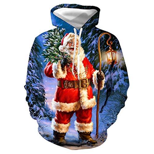 Simmia home Sweat à Capuche 3D Imprimer Pull Sweatshirt,Digital Print Loose Couple Shirt, Santa Claus, XL,Décontracté Pullover pour Garçon Fille Ado