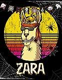 Zara: Customized Llama Sketchbook Gift For Girls with Personalized Names ( Zara ) | Halloween Sketchbook for kids
