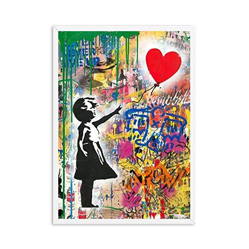 oioiu Graffiti Art Banks Mädchen mit Luftballons Straßenwand Leinwand Malerei Zusammenfassung Einstein Pop Art Leinwand Dekor Cuadros Kinderzimmer
