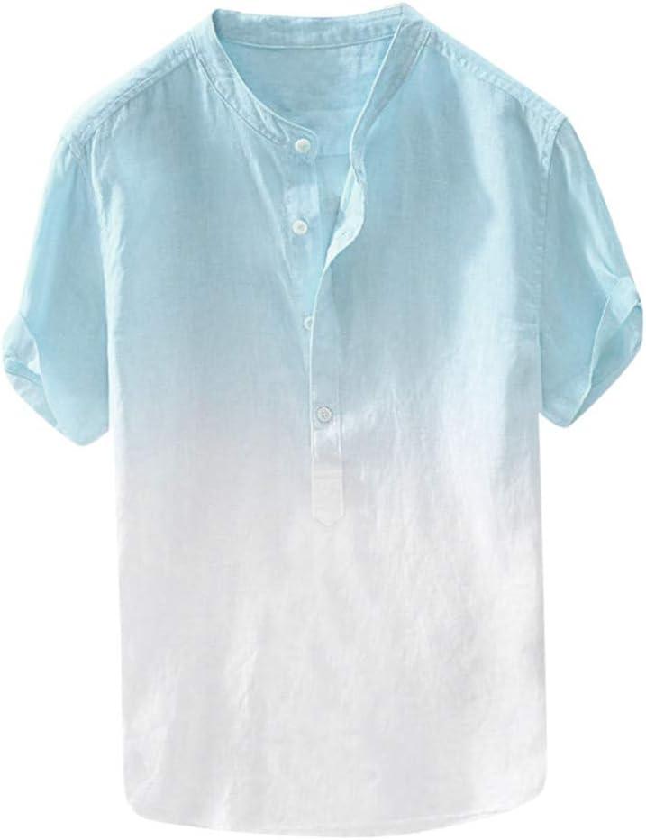 ZODOF Camisa Hawaiana con Estampado de Lino y algodón de Manga Corta étnica para Hombre Moda Suelta Blusa con Cuello Vuelto de Playa Simple Summer ...