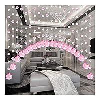 アーチ型クリスタルビーズ、装飾用ドアビーズ アーチドビーズカーテン、リビングルームの寝室の戸口分割器の家の装飾クリスタルガラスドアの弦ビーズカーテン、3色、カスタムサイズ(色:ピンク、サイズ:幅80cm)*商品コード:WW-63 (Color : Pink, Size : Width 80cm)