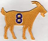 KOBE BRYANT G.O.A.T GOAT No. 8 Patch - Jersey Number Basketball Sew or Iron-On Embroidered Patch 3 1/4 x 2 3/4'