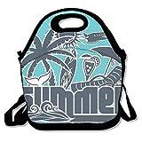 Bolsas de almuerzo aisladas, de neopreno, reutilizables, grandes, resistentes al agua, para viajes al aire libre, trabajo tropical, verano, póster personalizado