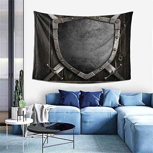 Tapiz medieval con escudo y espadas cruzadas para dormitorio, sala de estar, dormitorio, 156 x 100 cm