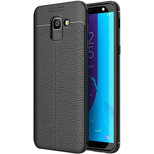 ebestStar - kompatibel mit Samsung Galaxy J6 2018 Hülle SM-J600F Lederhülle Design TPU Handyhülle Schutzhülle, Flex Silikon Hülle, Schwarz [Phone: 149.3 x 70.2 x 8.2mm, 5.6'']