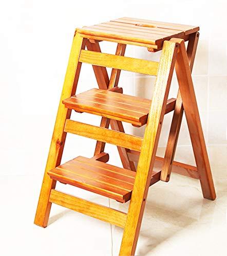 Schritt Hocker aus Holz 3 Stufen Folding 2 mit Leiter Hocker Innenmultifunktionsklettergerüst Größe 42x56x66cm Stabilität und Sicherheit