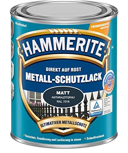 Hammerite Metall-Schutzlack matt Rostschutz Lack Metallfarbe Grundierung … (750ml, anthrazitgrau)