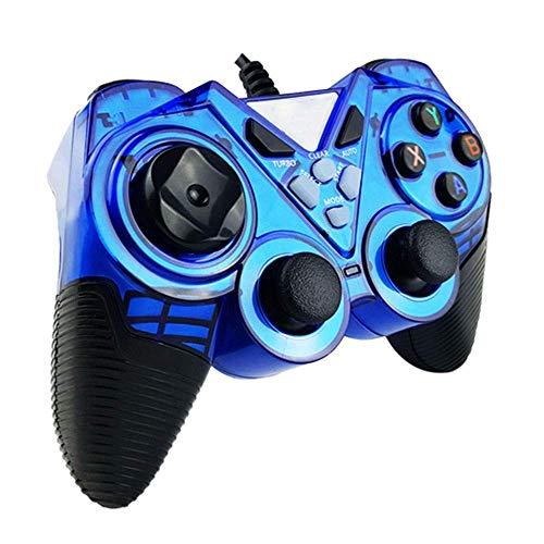 ヘッドフォン ビルトイン非対称モーターサポートコンピュータ/アンドロイドTV/水蒸気/ PS3 /プロジェクター/シミュレータゲーム/Androidのボックス搭載有線ゲームパッドのUSB (Color : Blue, Size : Standard)