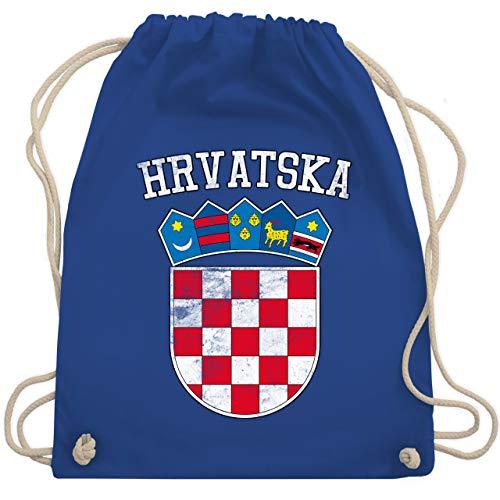 Shirtracer Fußball-Europameisterschaft 2021 - Kroatien Wappen WM - Unisize - Royalblau - kroatien wappen wm - WM110 - Turnbeutel und Stoffbeutel aus Baumwolle