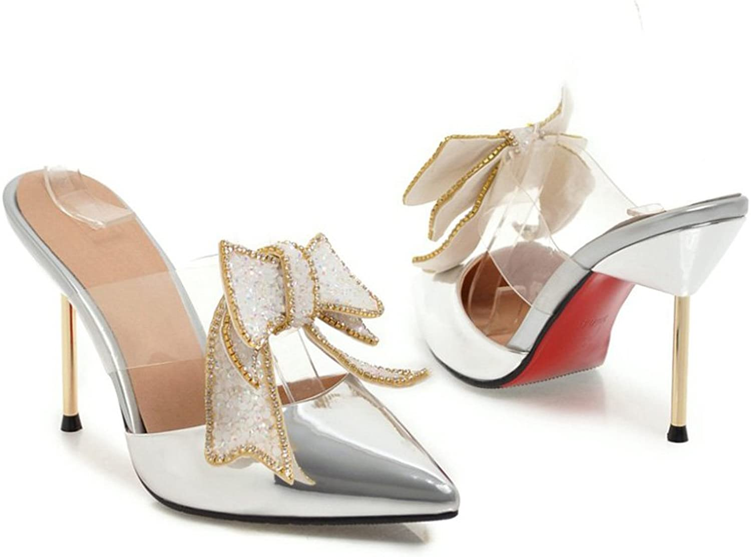 GenePeg Women Flip Flops Heeled Sandals Slip-On 2018 Ladies Sexy High Heels Butterfly Crystal Bling Party shoes