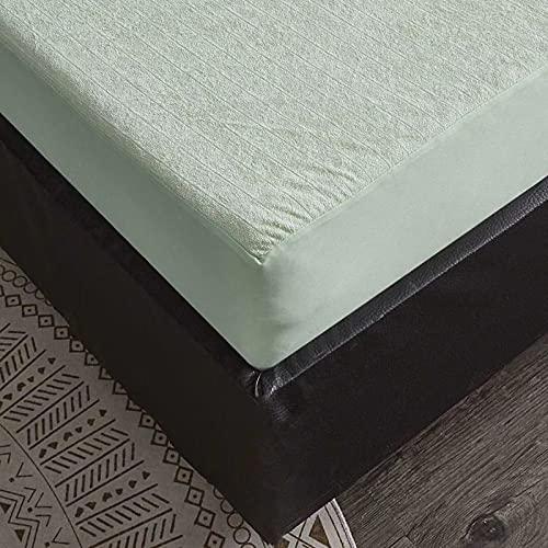 Protector Colchón Impermeable y Antiacaros, 100% Algodón, Funda Colchón de Rizo, Transpirable, Fresco, Silencioso y Hipoalergénico con Esquinas Elásticas de 25cm de Profundidad,Verde,150x200cm