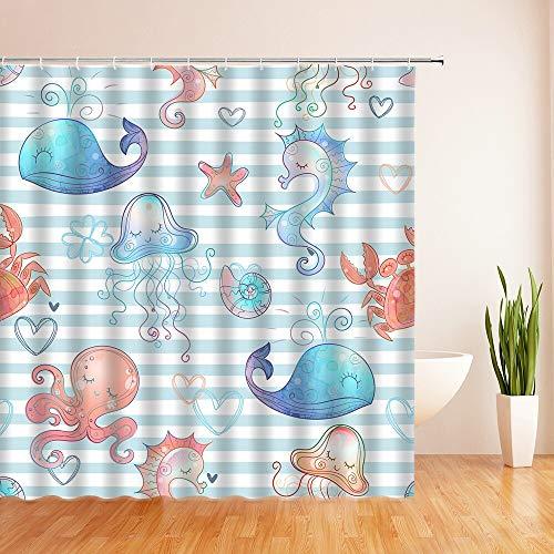 XCBN Cortinas de Ducha de Dibujos Animados de Peces de Colores oceánicos, Cortina de baño, Cortina de baño de decoración de Tela Impermeable con Ganchos A4 90x180cm