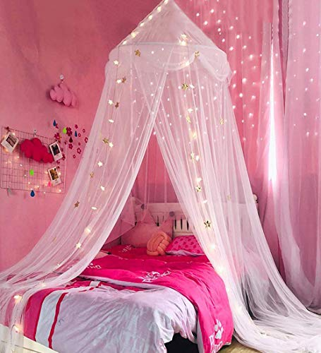 Extra Large Kids Bed Canopy for Girls Boys Bedroom, Mosquito Netting for Nursery Crib, Hanging Canopy for Reading Corner, Play Tent Canopy for Girls Bed Room Decor (Pure White, Star Netting)