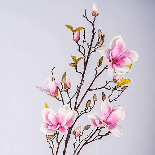 artplants.de Kunstblume Magnolienzweig LILO, 4 Blüten, Knospen, rosa, 110cm - Seidenblumen Magnolie - Kunstzweig