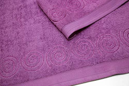 Montse inrichting Set 2 geborduurd handdoeken 550 g Spiral No3 sering