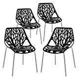 VINGLI Set of 4 Modern Dining Chairs Set Black Stackable Side Chairs Modern Birch Sapling Accent Chairs,Easy Assembly