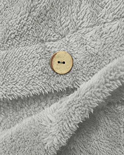 VONDA Womens Fleece Coat Blanket Jumper Hoodie Comfy Long Jacket Teddy Bear Outwear A-Light Grey M