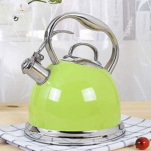 Bouilloire induction Bouilloire vert 3Lmodern Whistling 304 Stovetop thé en acier inoxydable Pot, Anti-échaudage Poignée de cuisson à induction Cuisinière à gaz WHLONG