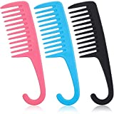 3 Pieces Wide Teeth Combs Shower Comb, Detangler Comb with Hook, Hair Wide-Tooth Wet and Dry Comb for Women Everyday Use and Beauty Salon, Pink, Black and Blue