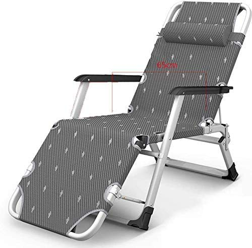 Relaxliege Liegestuhl, Gartenliege Camping Liege Strandkorb 178 x 52 x 25 cm mit Kopfkissen Sonnenliege klappbar, Abnehmbare Kopfstütze, Unterstützung 400 Kg (Gray)