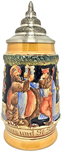 Gambrinus Re di birre e Saint Salvator tostare boccale da birra tedesco .5l