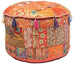 GANESHAM Indian Hippie Vintage Katoen Vloerkussen & Kussen Patchwork Bean Bag Stoel Cover Boho Bohemian Hand Geborduurd Ha...