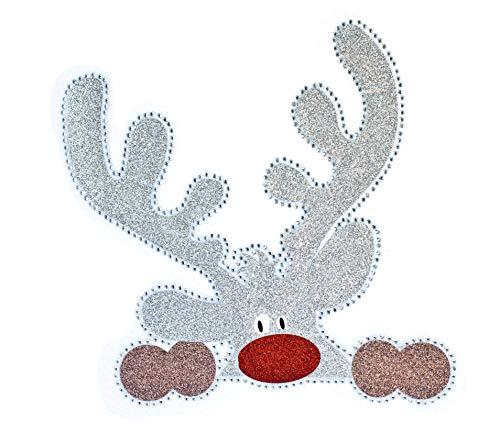 Christmas Rhinestone Iron On Transfer Rudolph Reindeer Xmas Design Bling Heat Press Decal with Star Decal Bonus