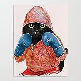 MBOQIAN Pintar por Numeros Adultos, Gato de Boxeo DIY Pintura por números con Pinceles y Pinturas Decoraciones para el Hogar 40x50cmSin Marco
