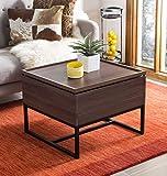 Safavieh Home Kristie Dark Oak and Black Lift-Top Storage Coffee Table