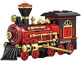 Bausteine Zug mit Motor, elektrische Lokomotive, historischer Express Zug mit Motor -