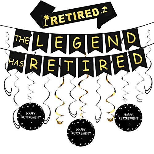 Happy Retirement Party Decorations Kit - The Legend Has Retired Banner & Happy Retirement Hanging Swirls &'I'm Retired' Retired Sash,Retirement Party Supplies and Gift