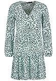 Sublevel Damen Kleid mit Muster-Print und V-Ausschnitt Turquoise S/M