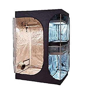 "TopoGrow 2-in-1 Indoor Grow Tent 48""x36""x72"" 600D High-Reflective W/2-Tiered for Lodge Propagation and Flower Plant Growing"