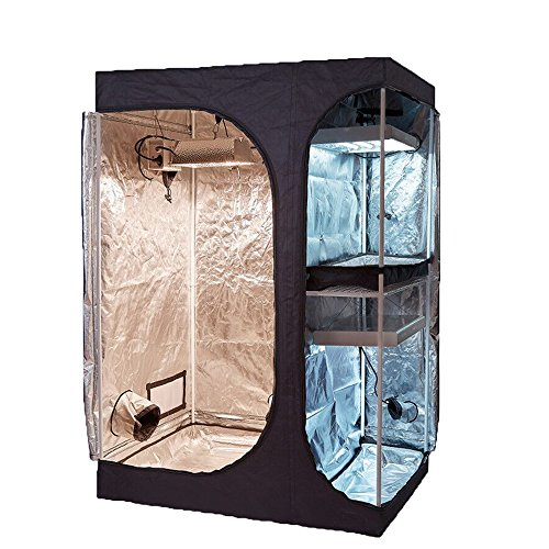 """TopoGrow 2-in-1 Indoor Grow Tent 48""""x36""""x72"""" 600D High-Reflective W/2-Tiered for Lodge Propagation and Flower Plant Growing"""