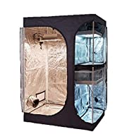 """TopoGrow 2-in-1 Indoor Grow Tent 48""""X36""""X72"""" 600D High-Reflective W/2-Tiered for Lodge Propagation and Flower Plant Growing Hydroponic Growing System"""